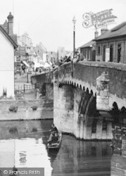 St Neots, The Bridge, Anglers And Spectators c.1955