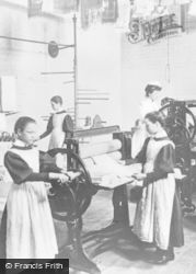 Stafford, The Laundry, Girls Using A Mangle c.1900