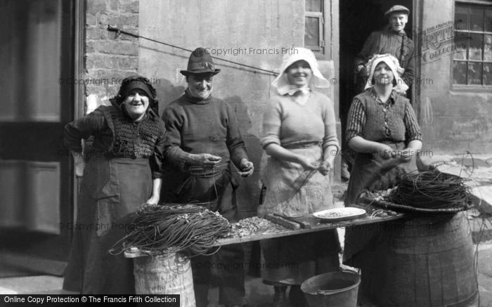 Photo of Staithes, Baiting The Lines c.1900