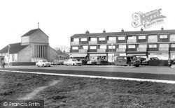 Stevenage, St Peter's Church And Marymead Shops c.1960
