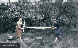 Highland Girls Wringing The Washing c.1890, Strathpeffer