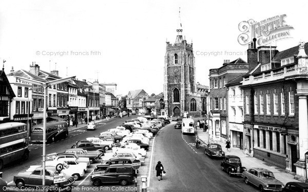 Sudbury, Market Hill And St Peter's Church c.1960