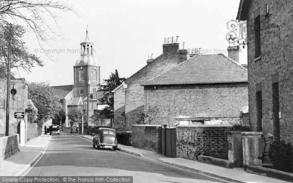 Photo of Sunbury, Church Street And St Mary's Church c.1955