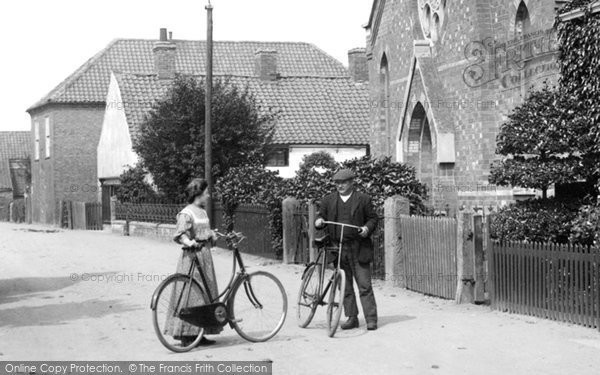 Photo of Sutton On Trent, Cyclists By The Wesleyan Chapel 1909