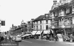 Sutton, The Cock Hotel And High Street c.1955