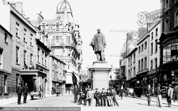 Swansea, Wind Street and Vivian Statue 1896