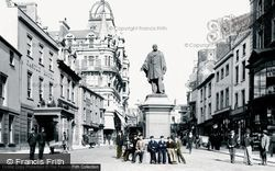Swansea, Wind Street And Vivian Statue 1896