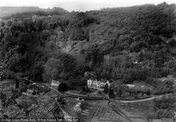 Symonds Yat, Wye Rapids hotel from the Rock c1955