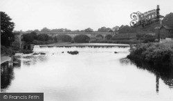 Tadcaster, The Bridge, River Wharfe And Weir c.1955