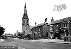 Church Road And Holy Trinity Church c.1955, Tarleton