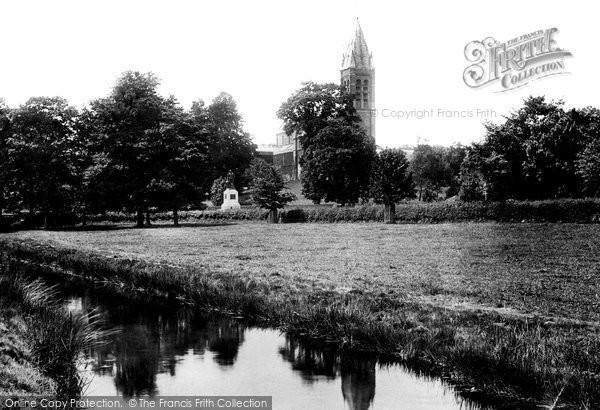 Photo of Tavistock, Fitzford Church And Drake's Statue 1893