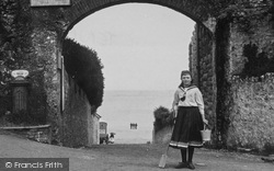 Tenby, Girl At Entrance To Castle 1890
