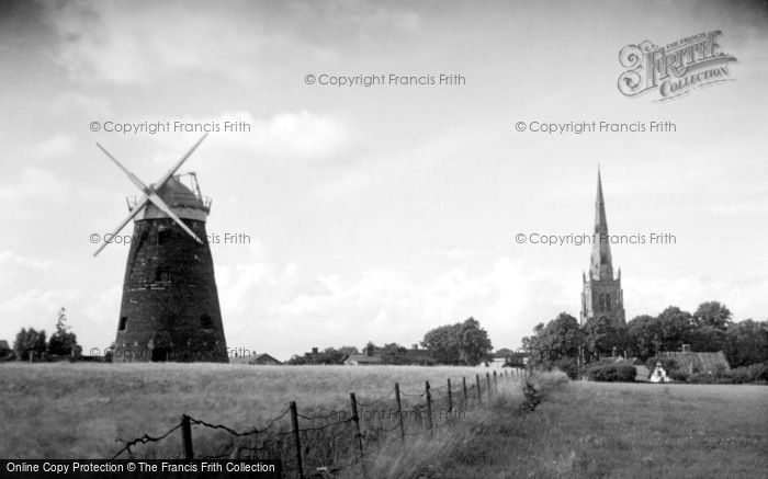 ,Thaxted, the Windmill and Church c1950, Essex,