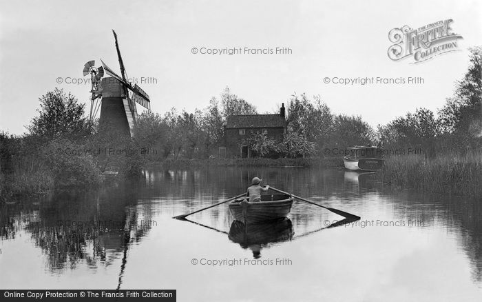The Broads,Mill and River c1934,Norfolk