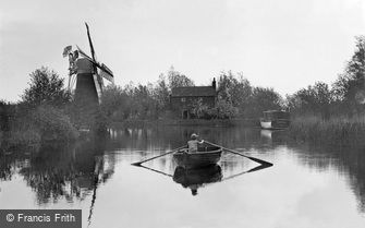 The Broads, Hunsett Mill on the River Ant at Stalham c1925