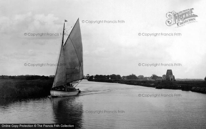 The Broads, River Bure At St Benet's Abbey Ruins c.1931