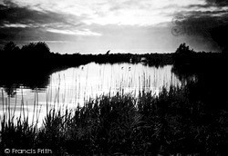 The Broads, Sunset On The Bure c.1931, The Norfolk Broads