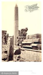 Thebes, Granite Obelisk And Lotus Column, Karnak 1857