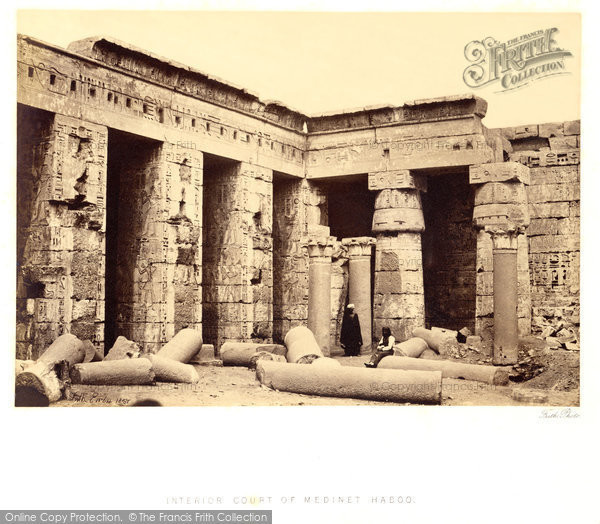 Photo of Thebes, Medinet Habou, Interior Court 1857