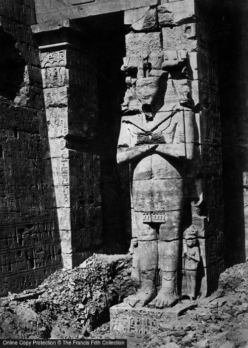 Photo of Thebes, Osiridae Pillar At Medinet Haboo 1860