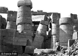 Thebes, Pillars in the Great Hall, Karnak 1860