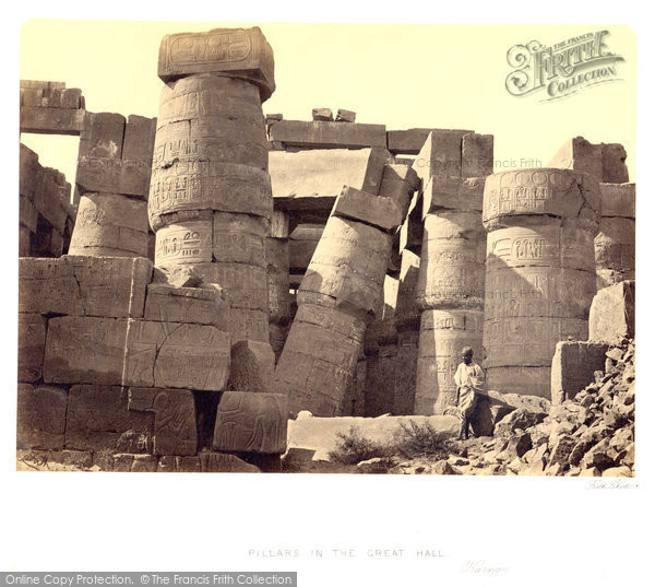 Photo of Thebes, Pillars In The Great Hall, Karnak 1860