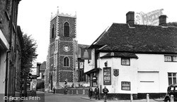 St Peter's Church And Bell Hotel c.1955, Thetford