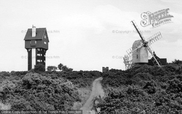 Photo of Thorpeness, The House In The Clouds And Post Mill c.1955