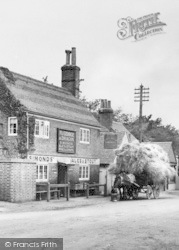 Three Mile Cross, The George & Dragon And Hay-Laden Horse Cart  c.1900