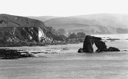 Thurlestone, Thurlestone Rock and Cliff c1950