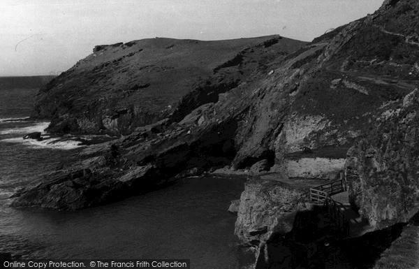 Photo of Tintagel, Bridge To Castle Ruins And Headland c.1955