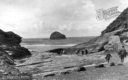 Tintagel, Trebarwith Strand And Gull Rock c.1955