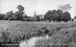 St Peter's Church From The River c.1955, Titchfield