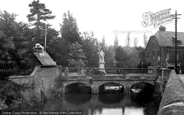 Photo of Tiverton, King Edward Statue And Bridge c.1955