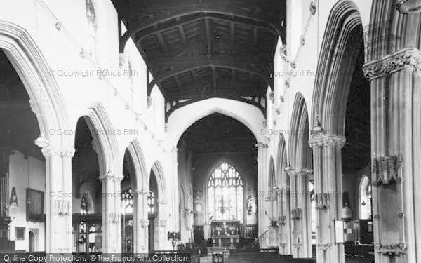 Photo of Tiverton, St Peter's Parish Church Interior c.1955