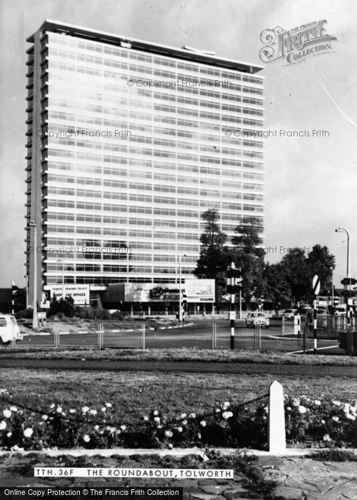 Photo of Tolworth, The Roundabout And Tolworth Tower c.1965