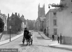 Totnes, Carriage In Bridge Town 1890
