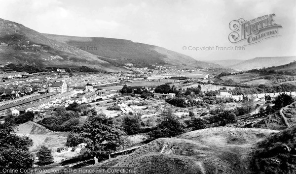 Treorchy, Rhondda Valley looking south c1955