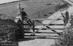 Trevone, Boy Sitting On Gate 1894