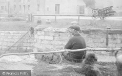 Ulverston, Canal Foot, Man And Dog 1923