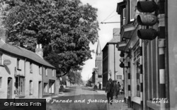 Usk, Castle Parade And Jubilee Clock c.1955