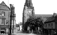 Uttoxeter, The War Memorial And St Mary's Church c.1955