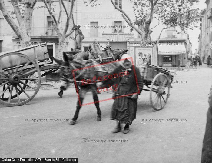 Photo of Uzes, Woman With Donkey Cart c.1939
