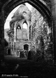 Valle Crucis, Abbey, West Front Through Archway 1948, Valle Crucis Abbey