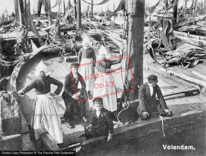 Photo of Volendam, Children On Fishing Boat c.1935
