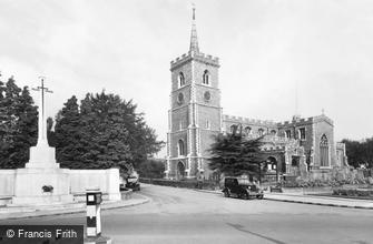 Ware, Parish Church of St Mary the Virgin and Memorial c1955
