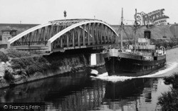 Warrington, A Boat Alongside The Knutsford Road Bridge c.1950
