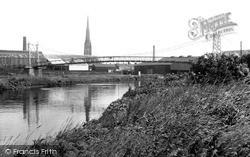 Warrington, The Suspension Bridge And Parish Church c.1955
