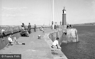 Watchet, Fishing at the Harbour 1957