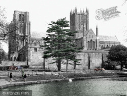 Wells, The Cathedral And Moat c.1955